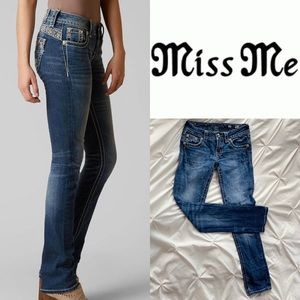 MISS ME bedazzled straight leg jeans